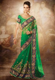 Green Faux Georgette Crepe Saree with Blouse @ $240.02