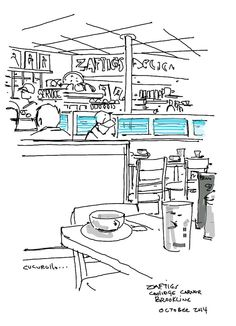Zaftigs Deli in Coolidge Corner Brookline, Massachusetts, (for when I am missing New York City,  (cafe sketch by Michael Cucurullo)