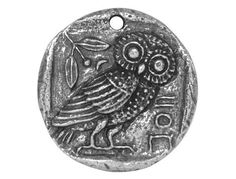 Green Girl Owl Coin 1 inch Pewter Pendant Antique Silver Color