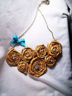 Handmade gold fabric flower crystal bead and blue by beccasboudoir, $25.00