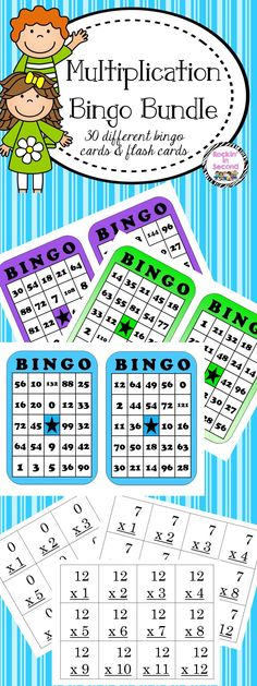 Multiplication Bingo & Flash Cards 0-12  Multiplication Bingo is a fun way to practice whole group, or in a math center to reinforce multiplication skills.  Set includes:  30 different multiplication bingo cards in 15 different colors. No two cards are alike. Calling cards for all times tables 0-12. Calling cards can double as flash cards. Print each set, cut and place on a book ring. Students can practice on their own. Multiplication Chart for recording multiplication tables already called.