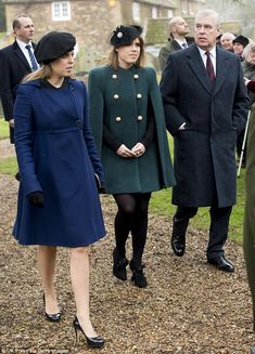 The Princesses of York were joined by father Prince Andrew who looked dapper in a suit and...