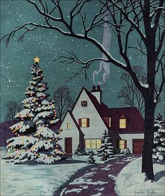 1930 Cover Art - BH 39 Newer Older This cover art illustration was done by Seymour Snyder for Better Homes & Gardens for the Christmas issue. Merry Christmas, Christmas Scenes, Winter Christmas, Christmas Home, Christmas Morning, Winter Snow, Illustration Noel, Winter Illustration, Christmas Illustration