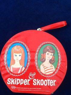 Vintage Skipper and Skooter Barbie Doll Case Red Round 1965 Near Perfect  f9948982dad