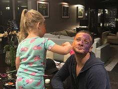 "196k Likes, 1,224 Comments - Jeremy Renner (@renner4real) on Instagram: ""Friday night face paint night ! #woohoo #glamitup #partywithapurpose"""
