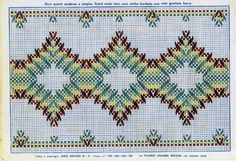 Punto Yugoslavo / Vagonite pattern Swedish Embroidery, Types Of Embroidery, Diy Embroidery, Cross Stitch Embroidery, Embroidery Patterns, Weaving Designs, Weaving Projects, Huck Towels, Swedish Weaving Patterns