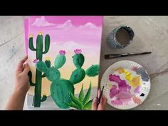 "Easy Cactus Painting ""Desert Golden Hour"" - Step By Step Painting Flower Painting Canvas, Simple Canvas Paintings, Canvas Painting Tutorials, Cactus Painting, Happy Paintings, Watercolor Cactus, Tole Painting, Canvas Art, Mexican Paintings"