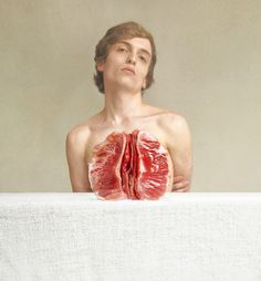 marwane pallas uses forced perspective to parallel human body parts and food