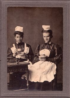 Waitresses Taking Tea, Unmarked Albumen Cabinet Card, Circa 1890
