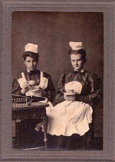 Waitresses Taking Tea, Unmarked Albumen Cabinet Card, Circa 1890