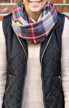Quilted vest & blanket scarf