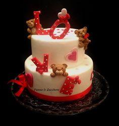 Lucia Tuccitto - 2015 #cakedesign #sanvalentino Teddy Bear Cakes, Desserts, Food, Tailgate Desserts, Deserts, Essen, Postres, Meals, Dessert