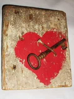 """Key to My Heart"" Sign Reclaimed Barnwood Salvaged Barn Wood Valentines Day Gift 