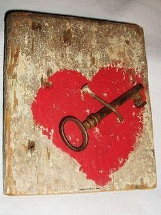 """Key to My Heart"" Sign Reclaimed Barnwood Salvaged Barn Wood Valentines Day Gift | eBay/willbray09"