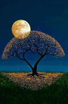 Such a unique pretty tree and moon painting Ciel Nocturne, Shoot The Moon, Moon Pictures, Moon Painting, Good Night Moon, Beautiful Moon, Good Night Beautiful, Good Night Sweet Dreams, Moon Art