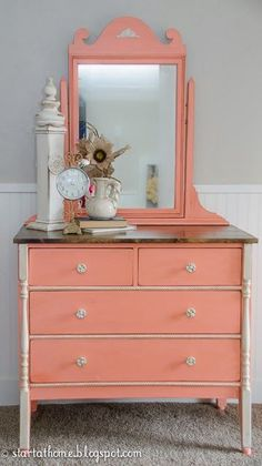 how to give a vanity a refinished coral look, painted furniture, repurposing upcycling Coral Painted Furniture, Refurbished Furniture, Repurposed Furniture, Furniture Makeover, Vintage Furniture, Orange Furniture, Funky Furniture, Plywood Furniture, Furniture Projects