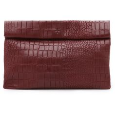 Marie Turnor Accessories Croc Embossed Lunch Clutch ($320) ❤ liked on Polyvore featuring bags, handbags, clutches, marsala, crocodile leather handbags, real leather handbags, red leather handbag, crocodile purse and leather purse