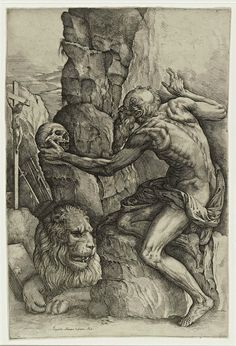 "Battista Franco (Italy. c. 1510-1561), ""St. Jerome Meditating on a Skull,"" 1530s. Etching. Photo: Cantor Arts Center"
