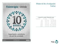 Tema: Curso de Fisioterapia Univás - 10 anos  Agência: Egg (experimental)  Peça: Cartaz (proposta)