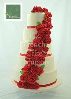 Wedding Cake Red Flowers - Piece Montee Mariage Fleurs Rouges - Bruidstaart
