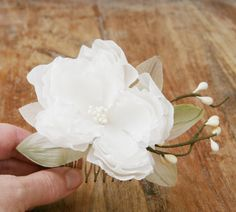 Ivory Vine Bridal Hair Comb:  Handmade flower of habotai silk, pale green millinery leaves, and ivory berry vines.