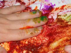 5 Senses. Touch - fingerpaint with salt.