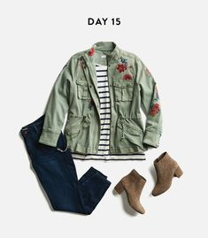 Kaila, don't like the flowers on the jacket but LV the outfit especially the stripped shirt.