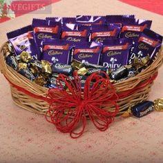 Basket of Cadbury Dairy Milk Chocolates - 12 grams) & Cadbury Chocolairs Gold Candy 30 Pcs. Chocolate Basket, Chocolate Bouquet, Chocolate Gifts, Chocolate Box, Chocolate Flowers, Buy Gifts Online, Online Gift Shop, Same Day Delivery Gifts, Send Chocolates