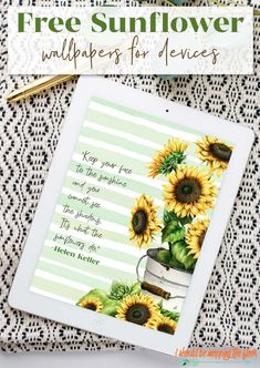Free Sunflower Wallpaper for All of Your Devices: Multiple Design Options Included Late Summer Flowers, August Calendar, Sunflower Wallpaper, Sunflower Design, Colorful Artwork, Calendar Design, Love Is Free, New Wallpaper, Vignettes
