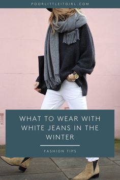 Looking for the perfect casual winter outfit ideas for white jeans? Poor Little It Girl shares how to wear white jeans in the winter with camel trench coat, black and white sweater, bold color sweater, and denim. jacket. This is the perfect casual petite street style look! There are 8 ways to style a white jeans outfit in the winter. How To Wear White Jeans, White Jeans Outfit, Petite Fashion Tips, Petite Outfits, Fall Fashion Outfits, Casual Winter Outfits, Autumn Style, Autumn Winter Fashion, Jean Outfits
