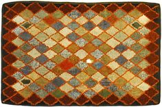 Geometric hooked rug - great colors!