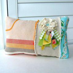 patchwork pillow fabric scrap pillow boho shabby von tracyBdesigns