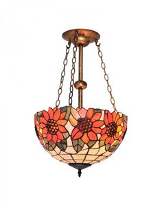 Tiffany Style Chandelier Lighting With Sunflower and Leaves Pattern Stained Glass Shade