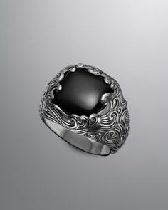 Waves Signet Ring, Black Onyx by David Yurman