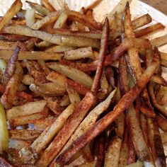 Homemade fries ala my hubby. Cut up potato, soak in salt water for 30 min. Drizzle with olive oil, season and place in oven for 40 min at 400. Enjoy!