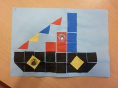 De boot van sinterklaas van blokjes. (16 vierkantjes)
