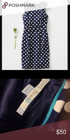 Boden martha navy polka for dress 8R This is a fabulously tailored Boden dress in the Martha style, Navy blue with white polka dots. Currently on the website for $148. Size US 8 R. Boden Dresses