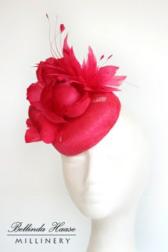 Fuchsia Sinamay Cocktail button with Silk Flowers & Feathers by BELLINDA HAASE #millinery #hats #HatAcademy