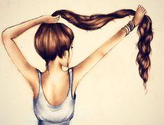 Beautiful, brown, drawing, girl