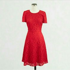 """Red Floral Lace Sheath Dress J. Crew brand. Womens size 4.  Length )from the top of the shoulder to the bottom hem)- 35"""" Color: Dark Poppy (Red) All over floral lace. Fully lined with polyester lining.  Fit at the waist and so lightly flares out.  Short sleeves with scalloped hem.  This dress is absolutely gorgeous!  Perfect party or event dress for all year around.  Brand new with tags! J. Crew Dresses"""