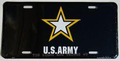 U.S. Army star logo LICENSE PLATE black car tag sign metal wall decor truck US