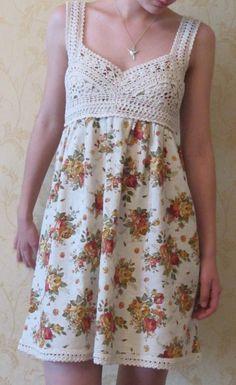 Gallery.ru / vestido. Tela + Crochet - Crochet. Nuestro trabajo. - Marinchik77