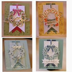 Sandra's 4 fabulous Wondrous Wreath cards. All supplies from Stampin' Up!