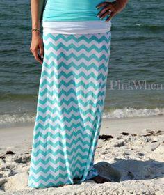 Tiffany Blue Chevron Maxi Skirt