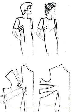 Рис. 167. Перемещение нагрудной вытачки на линию бокового среза. II вариант