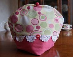 Upcycled Pink and Yellow Retro Circle Print Insulating Fabric Tea Cosy / Cozy with Doily Lace Trim and Custom Polymer Clay Bead Pull Top by TeaWithFriends on Etsy $50.00 CAD