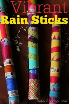 Easy Vibrant Rain Sticks for Kids to Make - Great craft for kids using paper towel rolls and dollar store washi tape! The tape is a great fine-motor work out, and the preschoolers loved using it. The year olds really enjoyed making these rain sticks as Crafts For 3 Year Olds, Crafts To Do, Arts And Crafts, Plant Crafts, Decor Crafts, Craft Activities, Preschool Crafts, Crafts For Preschoolers, Activities For 5 Year Olds