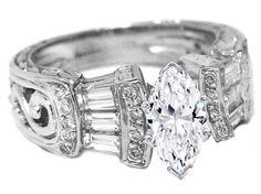 Marquise Diamond Vintage Heirloom Engagement Ring Baguettes & diamond accents