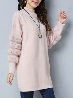 Casual Knitted Long Sleeve Midi Dress