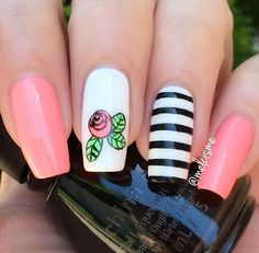 ♡♥︎♡ mix & match ♡♥︎♡ @chinaglazeofficial : Neon & on & on, Lime after Lime , Liquid Leather & White On White. @bornprettystore : Image Plate : BP73. @clearjellystamper : Clear Jelly Stamper. #chinaglaze #stripes #neon #pink #rose